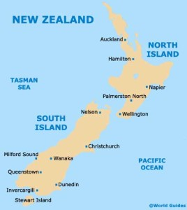 From Auckland on the northern island to Christchurch on the southern island.