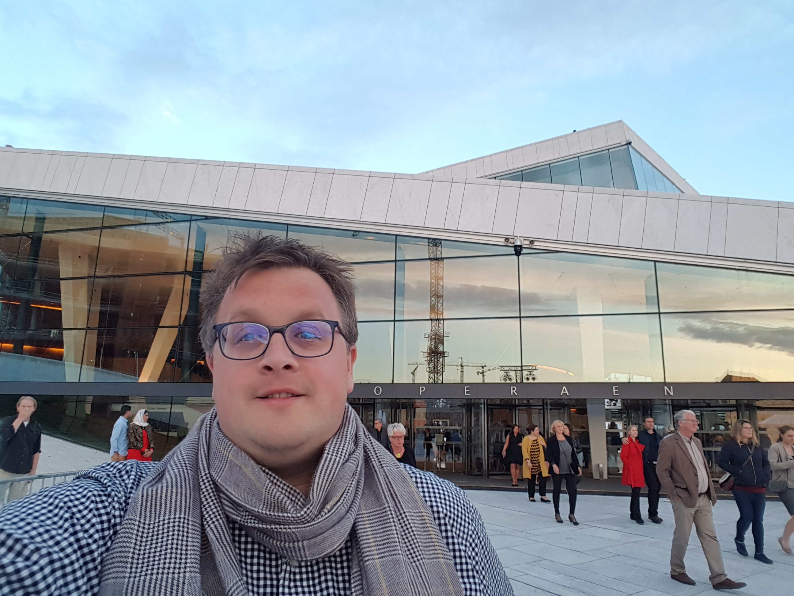 I front of the opera in Oslo