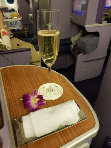 Hot towel, champagne and the Thai orchid