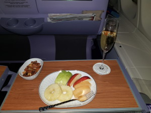 Champagne, nuts and fruits