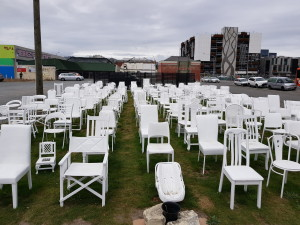 Empty chairs installation - one for every victim of the 2011 earthquake