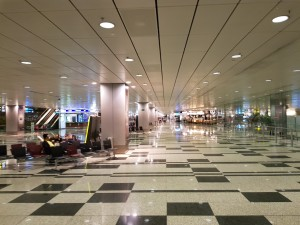 Arrival hall at Singapore airport early in the moring