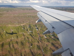 Throwing a shadow when landing at Oslo Gardermoen