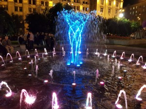 Fountain with light installation