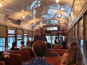 Inside the streetcar