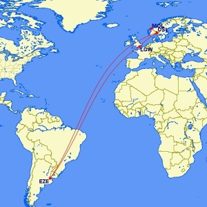 My travel route to Buenos Aires